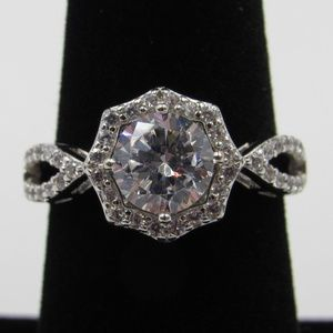 Vintage Size 7 Sterling Clear CZ Diamond Ring